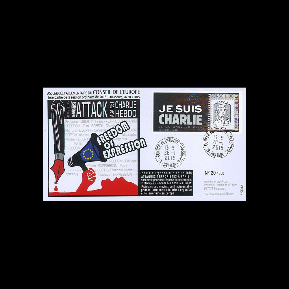 "CE66-IA : 01-2015 - FDC Conseil de l'Europe ""Hommage Charlie Hebdo - JE SUIS CHARLIE"""