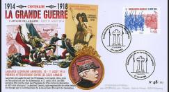 """CENT14-13 : FDC FRANCE """"100 ans Grande Guerre - Bataille de LAGARDE / DE CASTELNAU"""""""