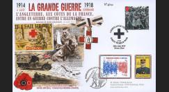 """CENT14-09 : Maxi FDC ROYAUME-UNI - FRANCE """"100 ans Grande Guerre - Chien Croix Rouge"""""""