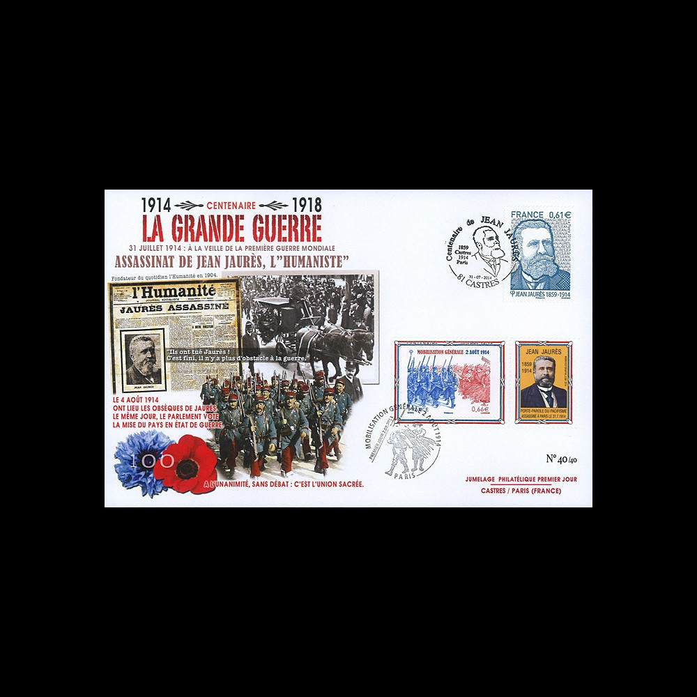 "CENT14-18 : Maxi FDC FRANCE ""100 ans Grande Guerre - Assassinat de Jean JAURES"""