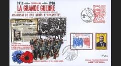 "CENT14-19 : 2014 - Maxi FDC FRANCE ""100 ans Grande Guerre - Assassinat de Jean JAURES"""