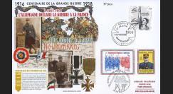 """CENT14-05 : 2014 - Maxi FDC FRANCE - ALLEMAGNE """"100 ans Grande Guerre - Plus jamais la Guerre"""""""