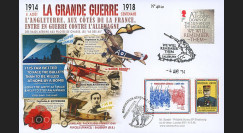 "CENT14-10 : Maxi FDC FRANCE - ROYAUME-UNI ""100 ans Grande Guerre - Capitaine GUYNEMER"""