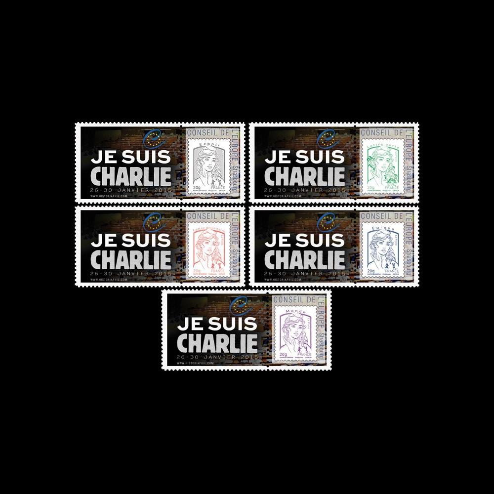 """CE66-IAPT1/5 : 2015 - Série 5 Marianne """"Conseil de l'Europe - JE SUIS CHARLIE"""""""