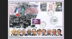 """PE671A : 2015 - Maxi FDC """"Marche Républicaine - NOUS SOMMES TOUS CHARLIE / Liberté Presse"""""""