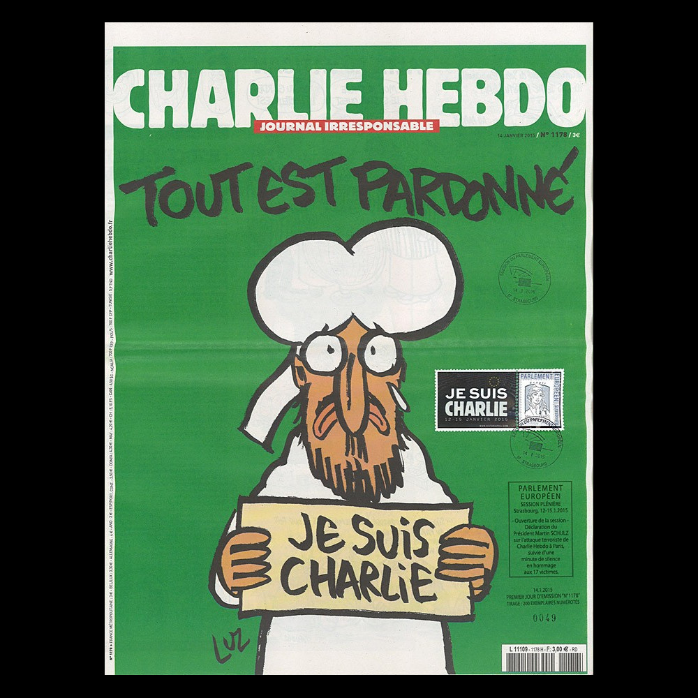 "PE670-J : 2015 - CHARLIE HEBDO n°1178 ""Hommage au Parlement européen - JE SUIS CHARLIE"""