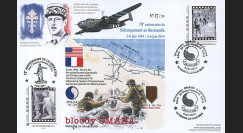 "DEB14-28 : 2014 - Maxi FDC ""70 ans D-DAY - DE GAULLE / Avion Bombardier Mitchell B-25"""