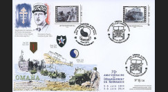 "DEB14-27 : 2014 - Maxi FDC ""70 ans D-DAY - DE GAULLE / JEEP WILLYS & Camion GMC DUCK"""