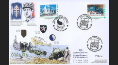 """DEB14-26 : 2014 - Maxi FDC """"70 ans D-DAY - DE GAULLE / JEEP WILLYS - OMAHA BEACH"""""""