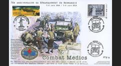 """DEB14-31 : 2014 - Maxi FDC """"70 ans D-DAY / JEEP WILLYS - Combat des unités médicales"""""""