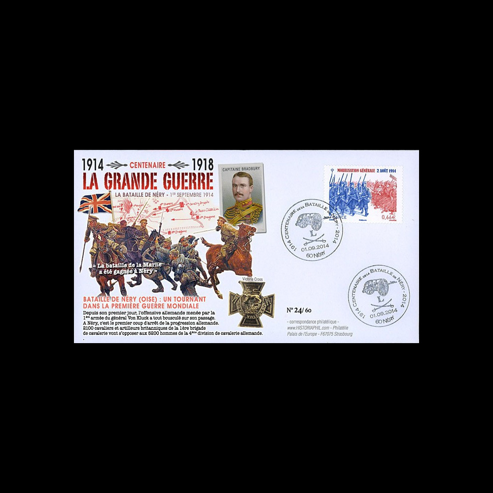 """CENT14-15 : FDC FRANCE """"100 ans Grande Guerre - Bataille de Néry / Capitaine BRADBURY"""""""