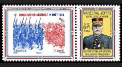 """CENT14-17PT : 2014 - Porte-timbre """"100 ans Grande Guerre - Bataille Marne / JOFFRE"""""""