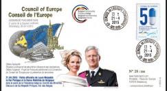 "CE66-II : 04-2015 - FDC Conseil de l'Europe ""Roi Philippe et Reine Mathilde de Belgique"""