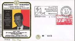 """PE131 : 04-1987 - FDC Parlement européen """"Visite Sa Majesté BAUDOUIN 1er"""