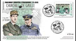 """PE675-1 : 2015 - FDC Parlement européen """"Expo CHURCHILL & DE GAULLE - 70 ans Victoire"""""""