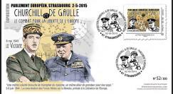 """PE675-2 : 2015 - FDC Parlement européen """"Expo CHURCHILL & DE GAULLE - 70 ans Victoire"""""""