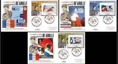 """DG15-4/6 : 2015 - 3 FDC """"75e anniversaire de l'Appel du 18 juin - de Gaulle"""" Série N°2"""