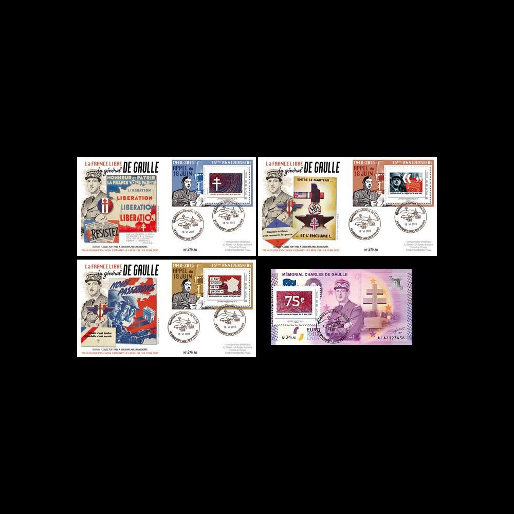 """DG15-7/10 : 2015 - 3 FDC + 1 billet souvenir """"75 ans Appel du 18 juin - de Gaulle"""" Série N°3"""