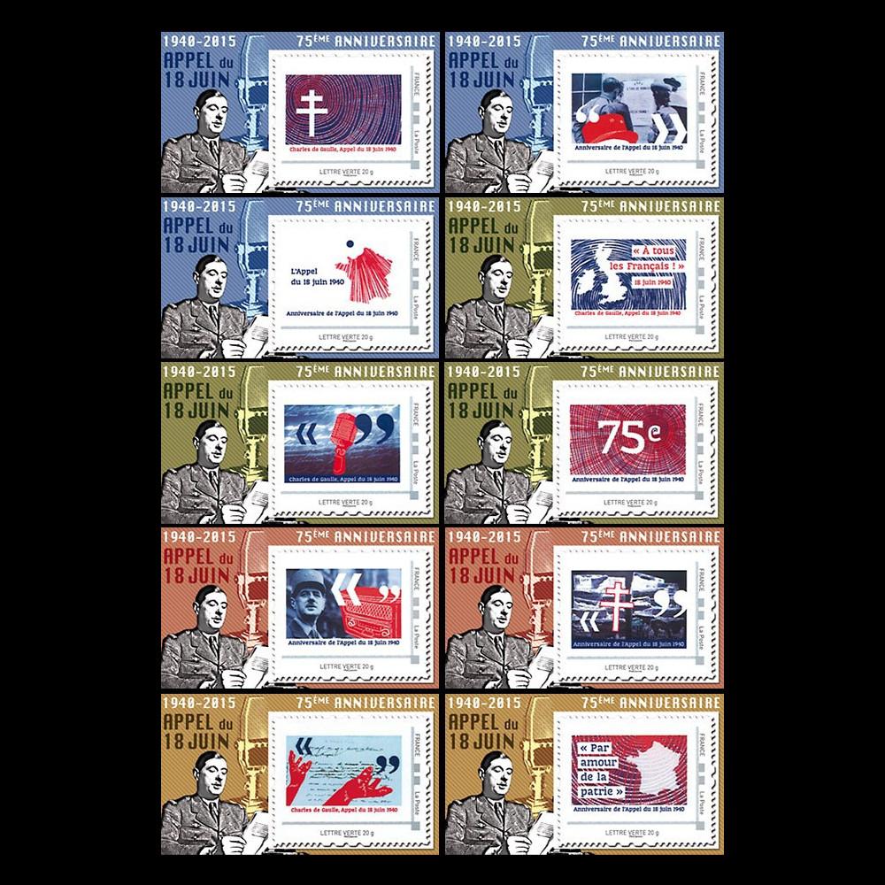 """DG15-PT1/10 : 2015 - Série de 10 porte-timbres privés """"75 ans Appel 18 juin - de Gaulle"""""""