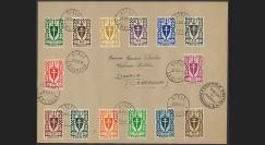 """W2-FL012 : 1944 - Pli FRANCE LIBRE - CAMEROUN """"Série 14 val. Londres - Bouclier à Croix de Lorraine"""""""