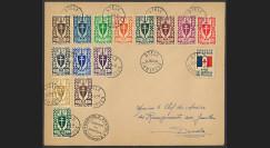 """W2-FL014 : 1944 - Pli FRANCE LIBRE CAMEROUN """"Série Londres - Bouclier Croix de Lorraine"""""""