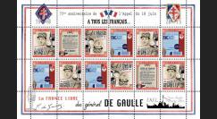 """DG15-1FD : 2015 - Feuillet vignettes """"75 ans Appel 18 Juin 1940 - DE GAULLE : FNFL / WWII"""""""