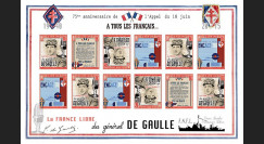 "DG15-1FND : 2015 - Feuillet 12 vignettes ND ""75 ans Appel 18 Juin 1940 - DE GAULLE : FNFL"""