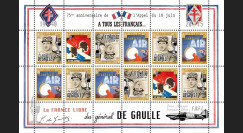 """DG15-2FD : 2015 - Feuillet 12 vignettes """"75 ans Appel 18 Juin 1940 - DE GAULLE : FAFL"""""""