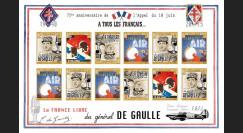 """DG15-2FND : 2015 - Feuillet vignettes ND """"75 ans Appel 18 Juin 1940 - DE GAULLE : FAFL"""""""