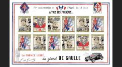 """DG15-3FND : 2015 - Feuillet vignettes ND """"75 ans Appel 18 Juin 1940 - DE GAULLE : FFI"""""""