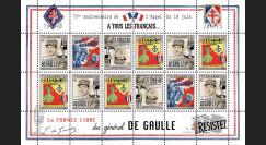 """DG15-4FD : 2015 - Feuillet 12 vignettes """"75 ans Appel 18 Juin 1940 - DE GAULLE : Résistance"""""""
