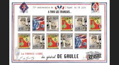 """DG15-4FND : 2015 - Feuillet vignettes ND """"75 ans Appel 18 Juin - DE GAULLE : Résistance"""""""