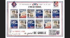 """DG15-5FND : 2015 - Feuillet vignettes ND """"75 ans Appel 18 Juin - DE GAULLE : Libération"""""""