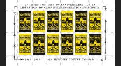 """CE56-FD : 2005 - Feuillet de vign. """"60e anniversaire libération du camp nazi d'Auschwitz"""""""