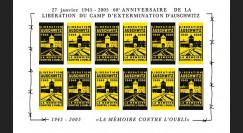 """CE56-FND : 2005 - Feuillet de vign. """"60e anniversaire libération du camp nazi d'Auschwitz"""""""