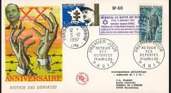 """AJ97-65T1 : FDC 1965 """"20 ans retour déportés"""" / 1997 """"Chirac au mémorial du martyr juif"""""""