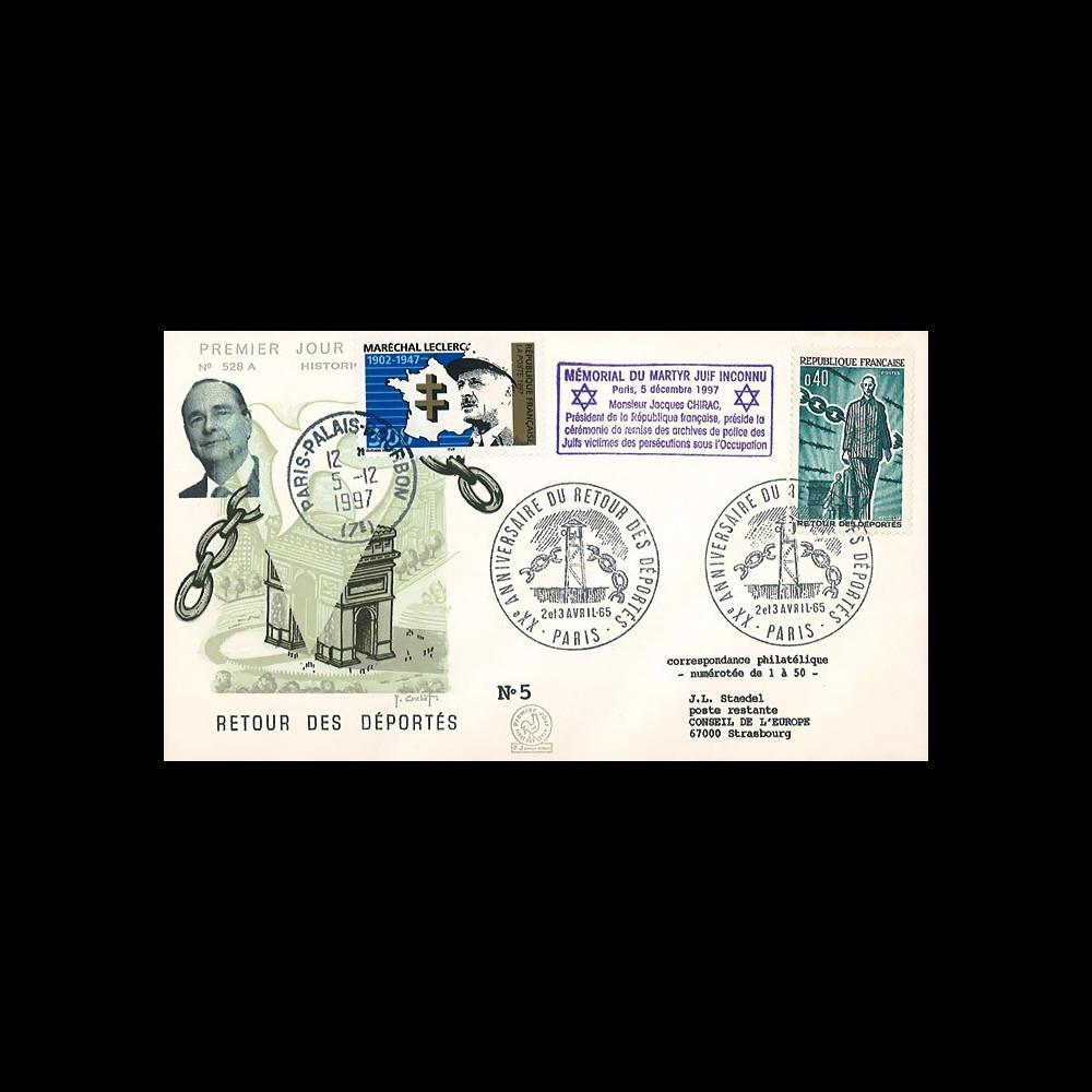"""AJ97-65T2 : FDC 1965 """"20 ans retour déportés"""" / 1997 """"Chirac au mémorial du martyr juif"""""""
