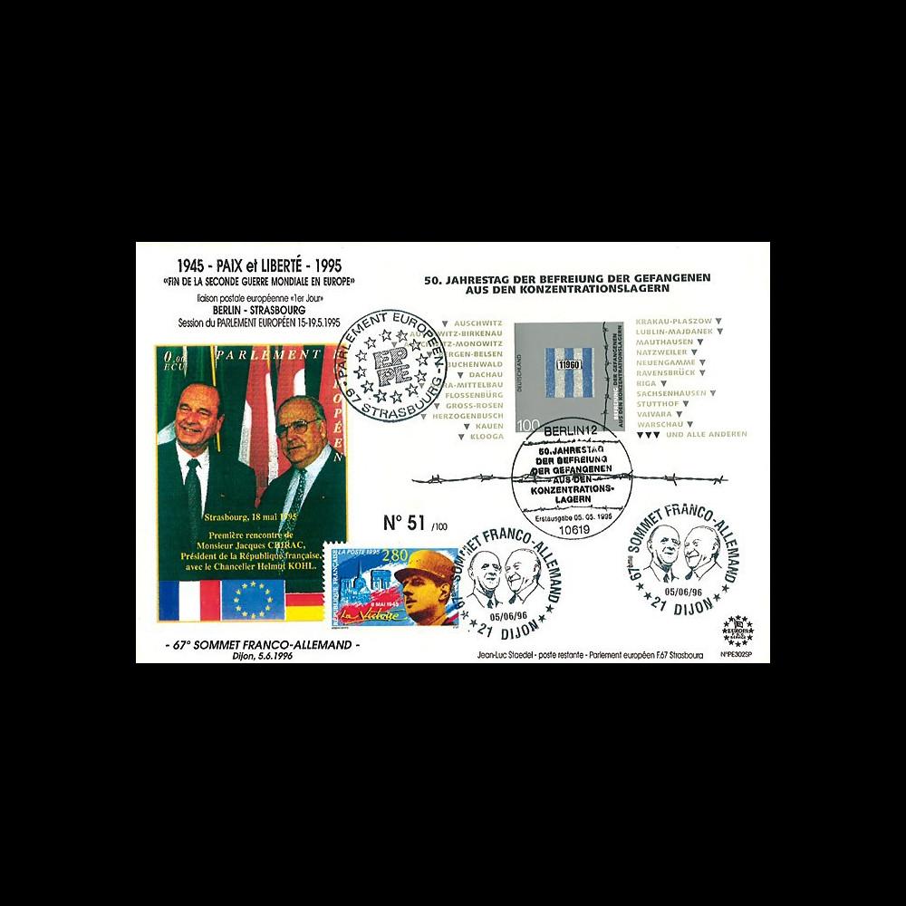 """PE302SP : FDC Allemagne-France """"50e anniv. de la libération des camps"""" / Chirac et Kohl"""