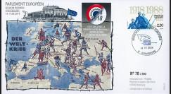 """PE659 : 04-2014 - FDC Parlement européen """"Centenaire début Première Guerre Mondiale"""""""