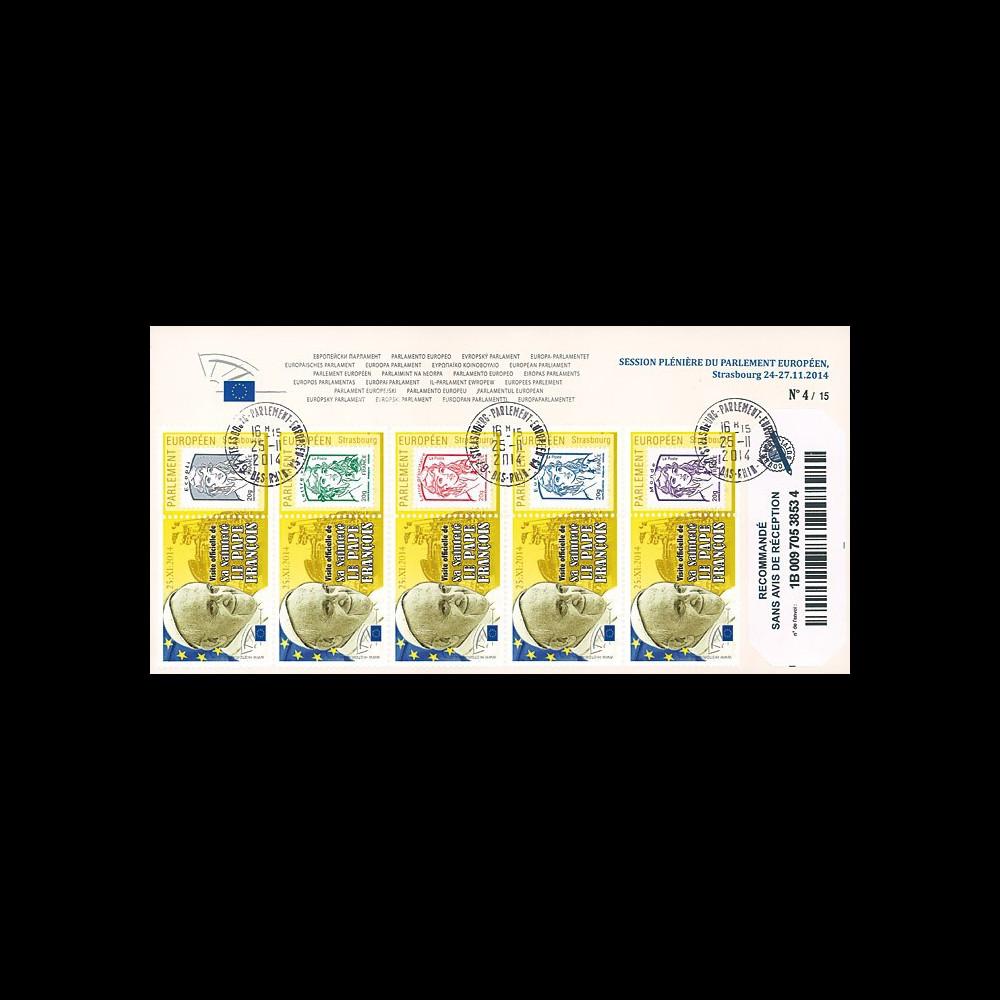 """PE666a : 25.11.2014 - Env. à entête RECO Parlement européen """"Visite du Pape François"""""""