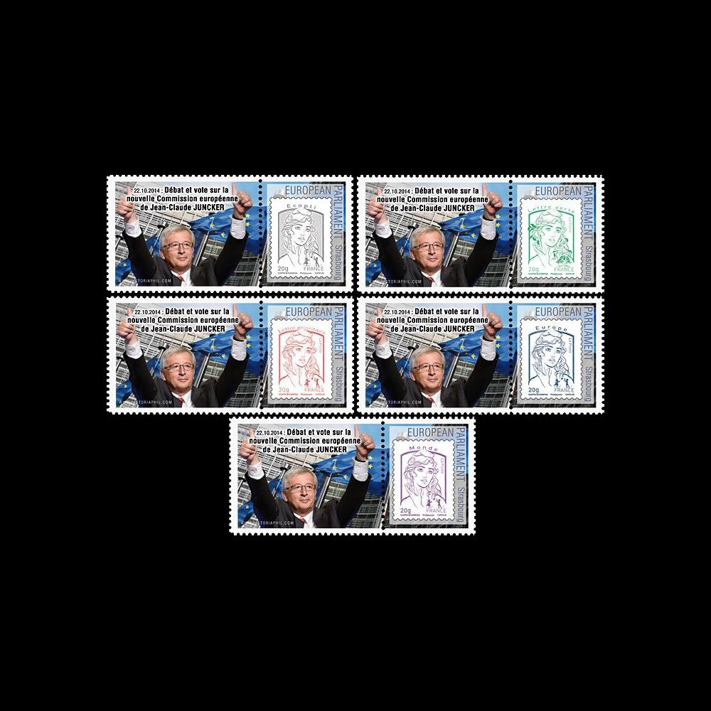 """PE665-PT1/5 : 7-2014 - 5 Marianne sur porte-timbres privés """"Nouvelle Commission Juncker"""""""