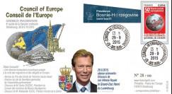 "CE66-IV : 09-2015 - FDC Conseil de l'Europe ""Visite Grand-Duc HENRI du Luxembourg"""