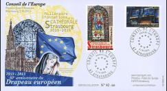 """CE66-PJ : 10-2015 - FDC Conseil de l'Europe """"1er Jour - 60 ans Drapeau européen"""""""