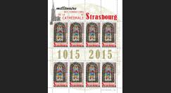 """CE66-PJF : 2015 - Feuillet 8 vignettes """"Millénaire des Fondations de la Cathédrale de Strasbourg"""""""