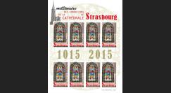 """CE66-PJFND : 2015 - Feuillet 8 vignettes ND """"Millénaire Fondations Cathédrale de Strasbourg"""""""