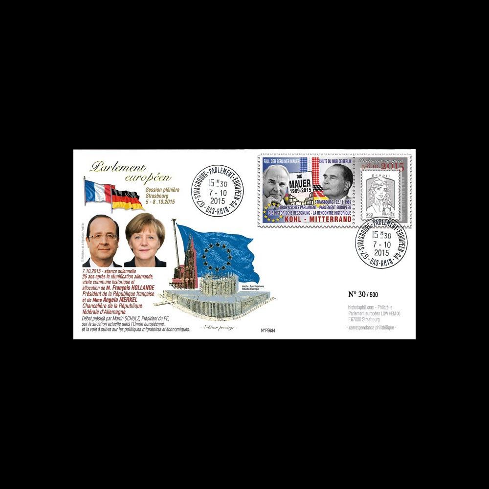 """PE684 : 2015 - FDC Session PE """"Visite historique jointe de Hollande et Merkel au Parlement"""""""