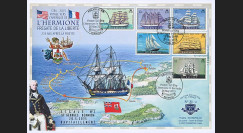 """HLF15-4T1 : 2015 - Maxi FDC BERMUDES """"Escale n°2 à Saint-Georges - Frégate L'HERMIONE"""""""
