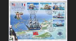 """HLF15-4T2 : 2015 - Maxi FDC BERMUDES """"Escale n°2 à Saint-Georges - Frégate L'HERMIONE"""""""