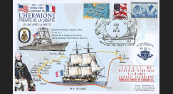 """HLF15-5 : 2015 - Maxi FDC USA """"Escale n°3 à Norfolk - Frégate L'HERMIONE / LA FAYETTE"""""""