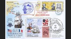 """HLF15-6 : 2015 - Maxi FDC FRANCE-USA """"Escale n°4 à Yorktown - Frégate L'HERMIONE / LA FAYETTE"""""""